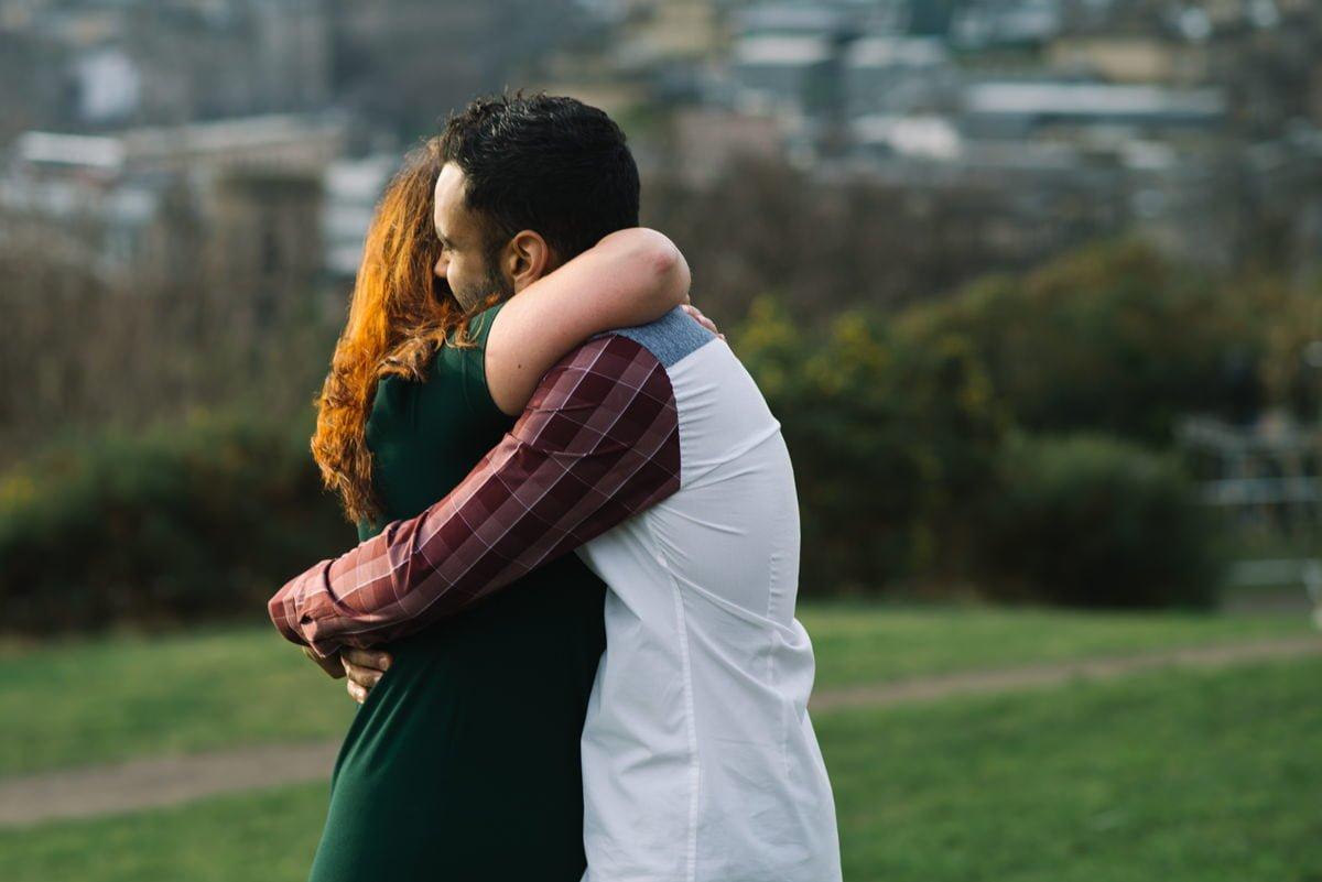Karen and Sahir hugging