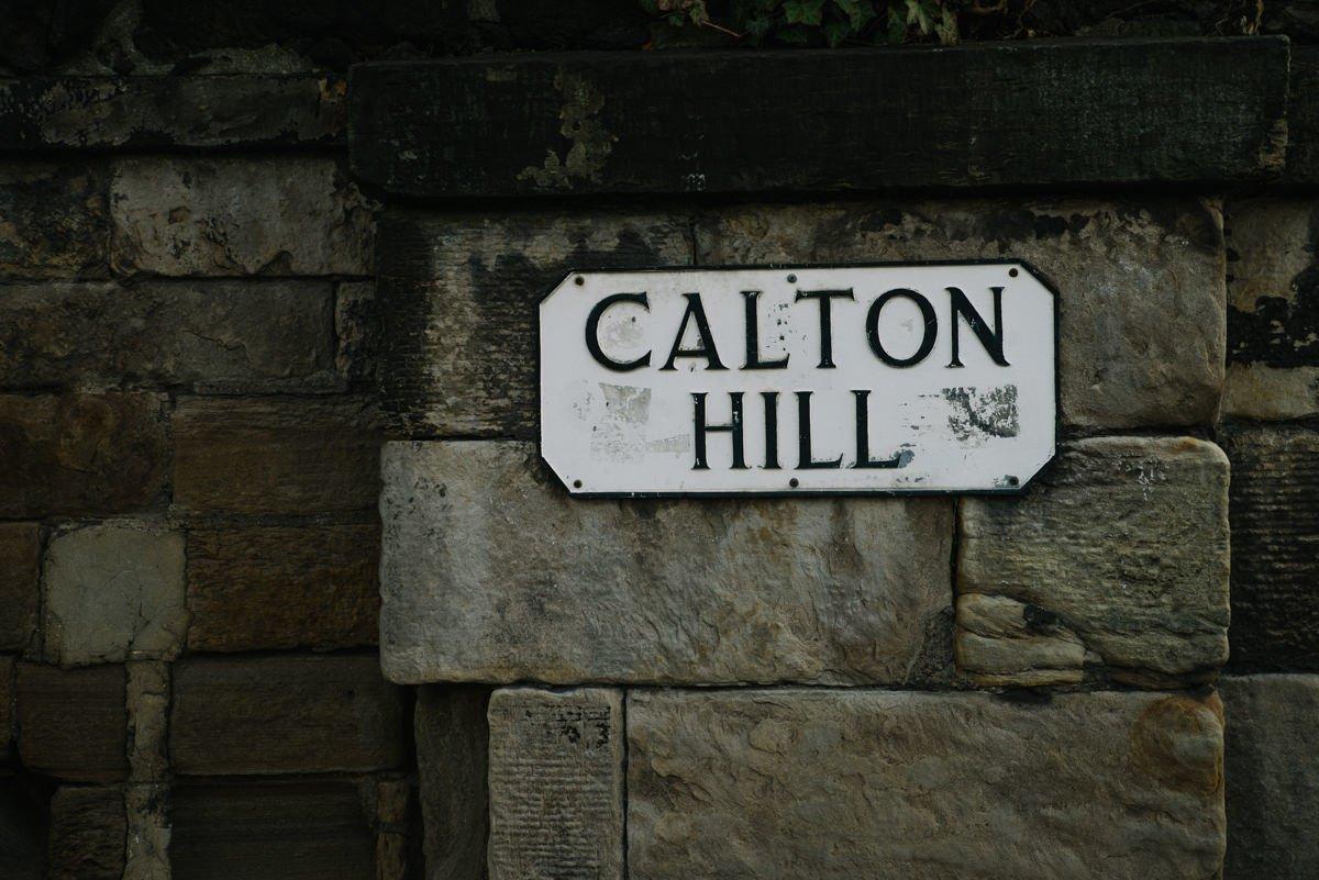 Calton Hill road sign