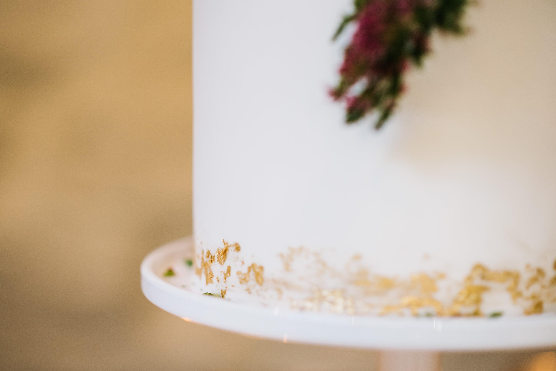 wedding cake gold leaf