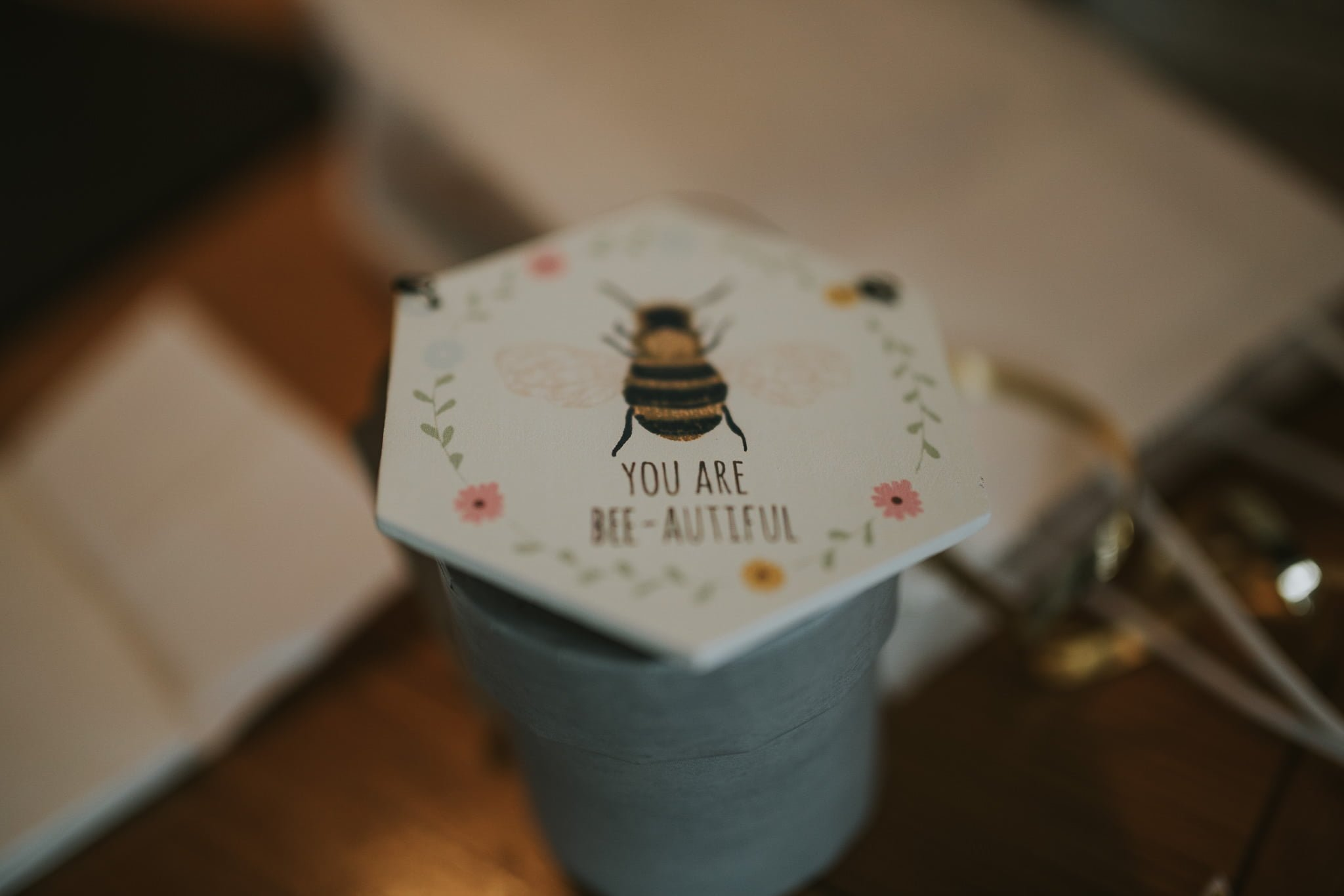 wedding detail with bee