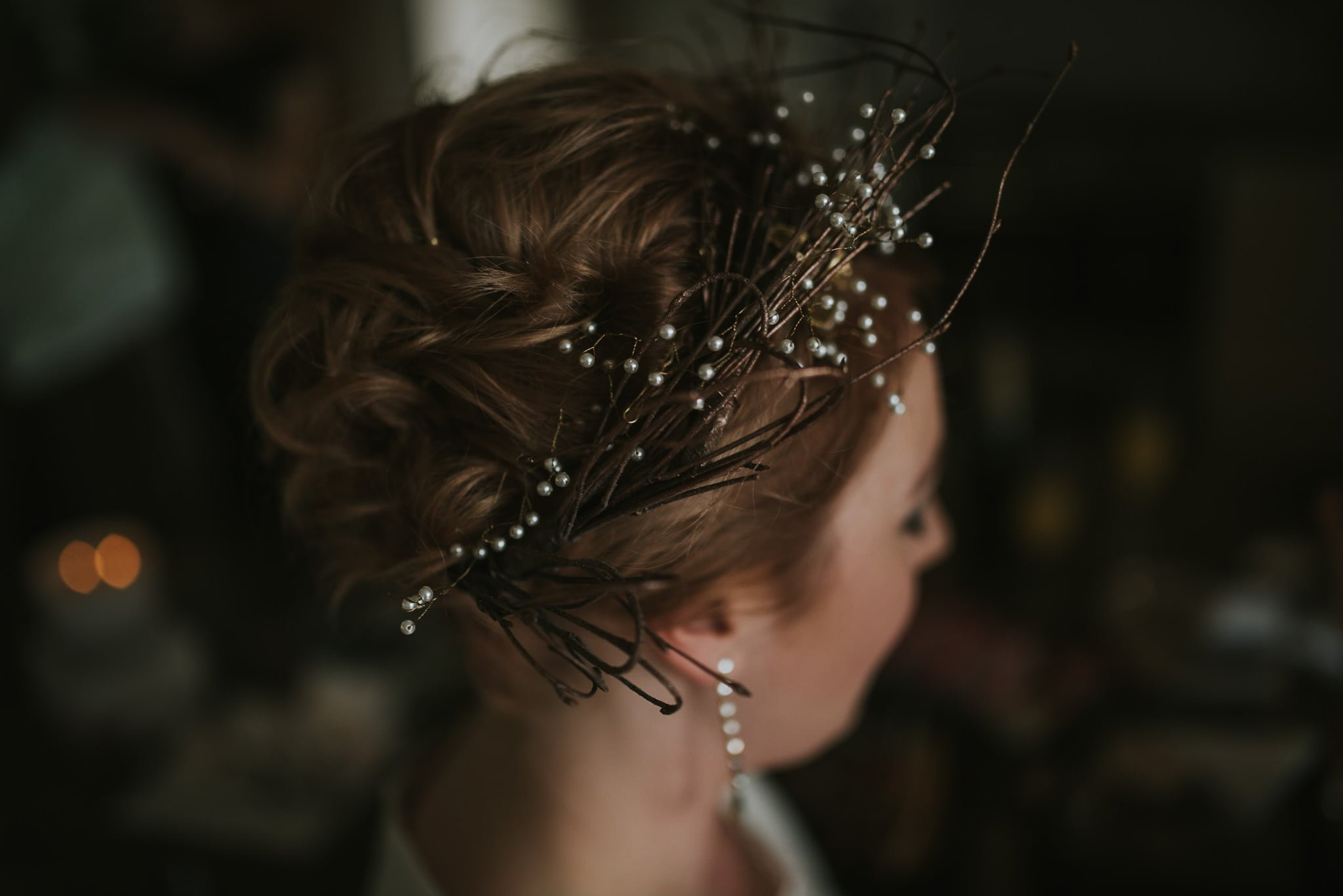 detail of bride's hair