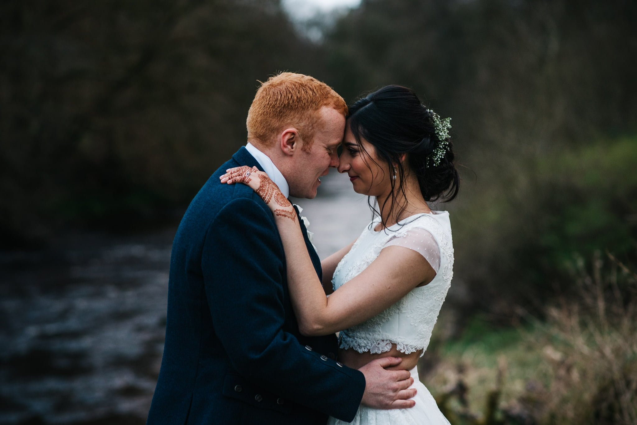 bride and groom at sorn castle