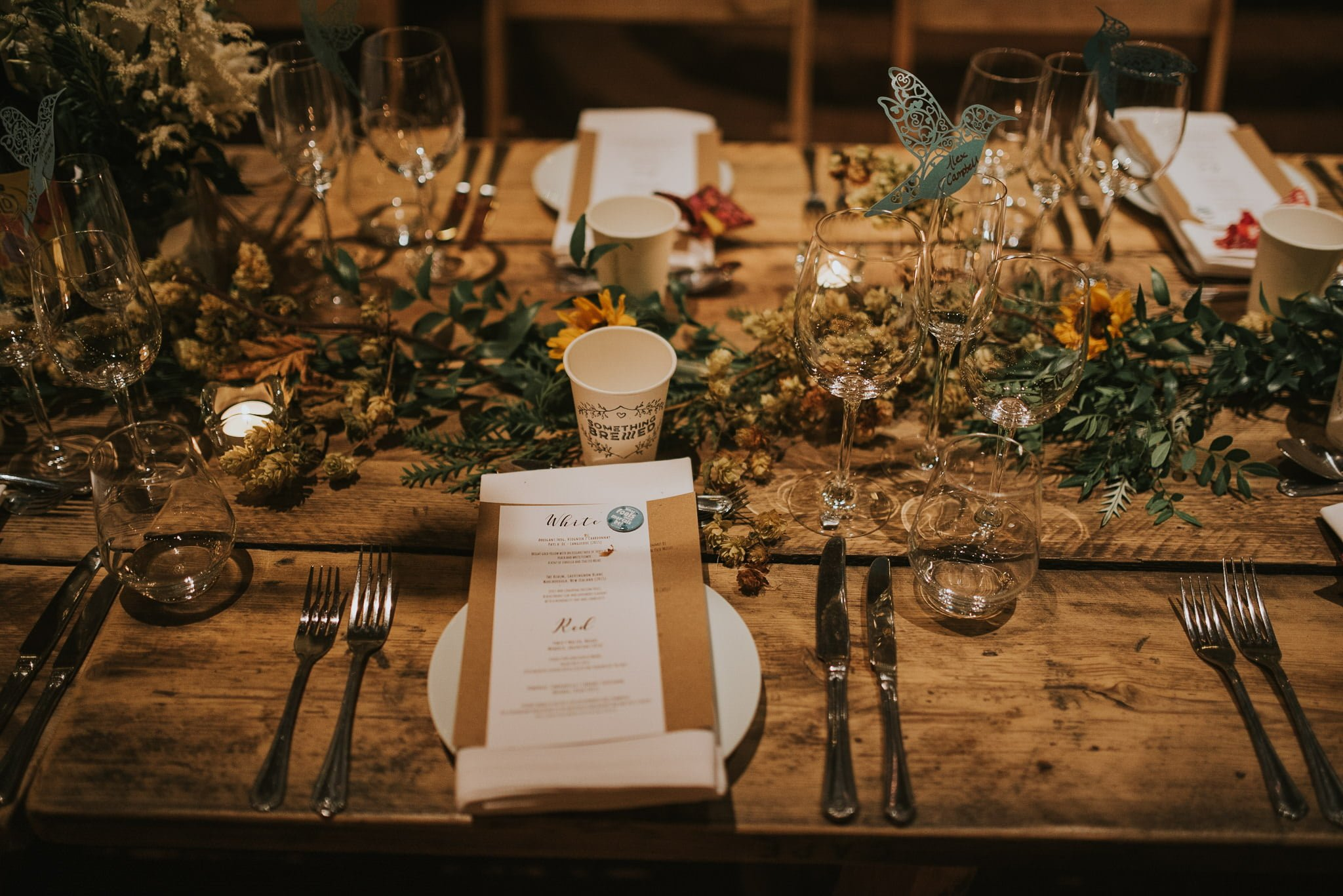 wedding table decorations at kinkell byre