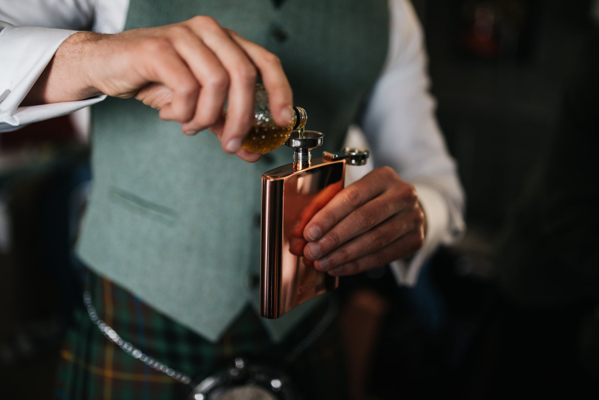 copper whisky flask