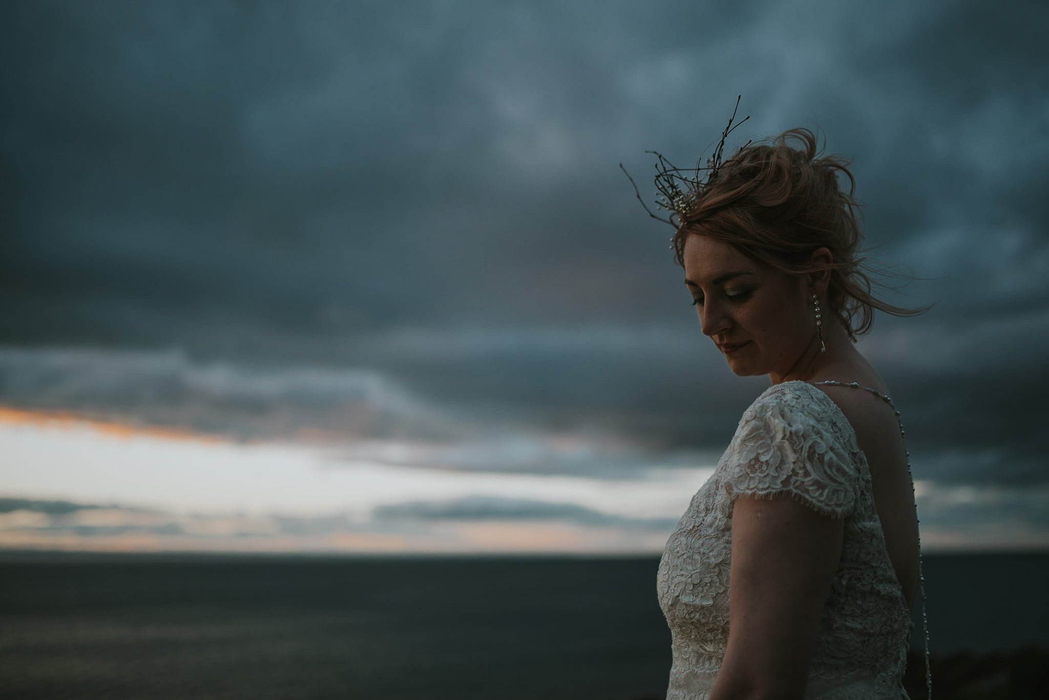 bride in evening light at seaside