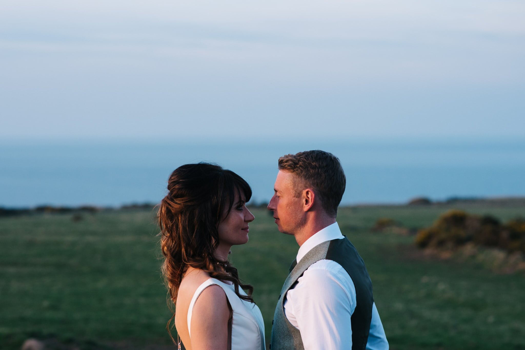 couple in evening sun at kinkell byre