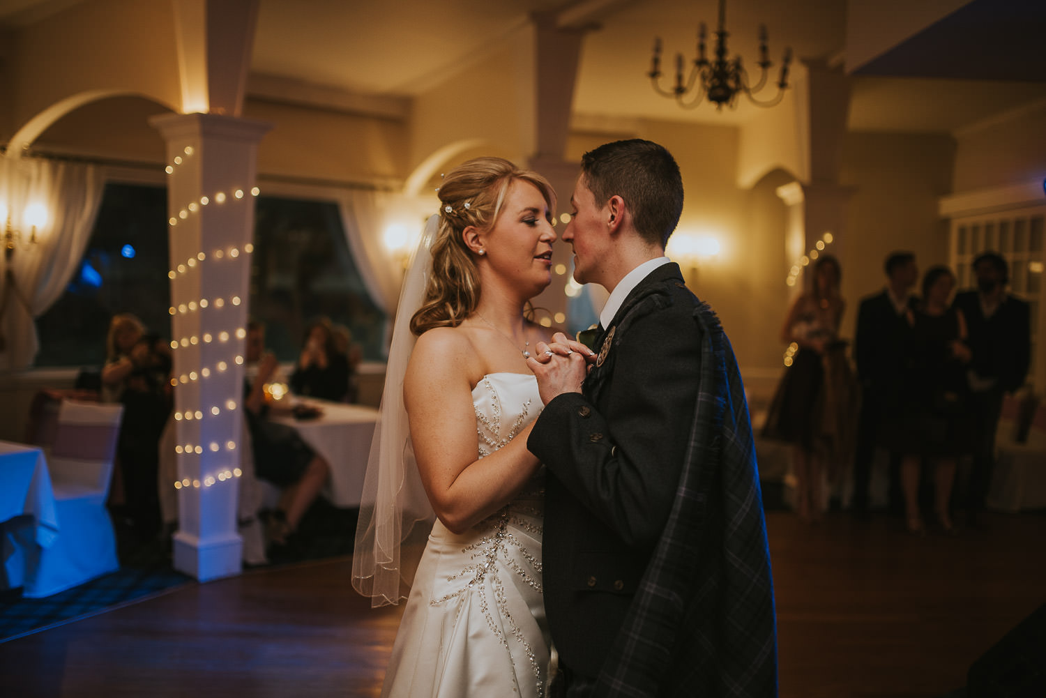 country wedding first dance and fairy lights
