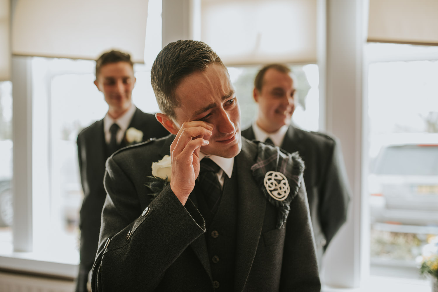 country wedding groom crying