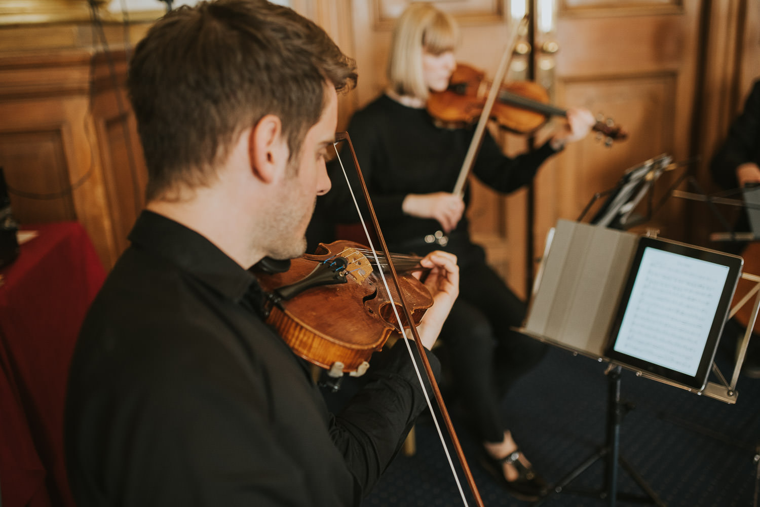 string players at wedding ceremony