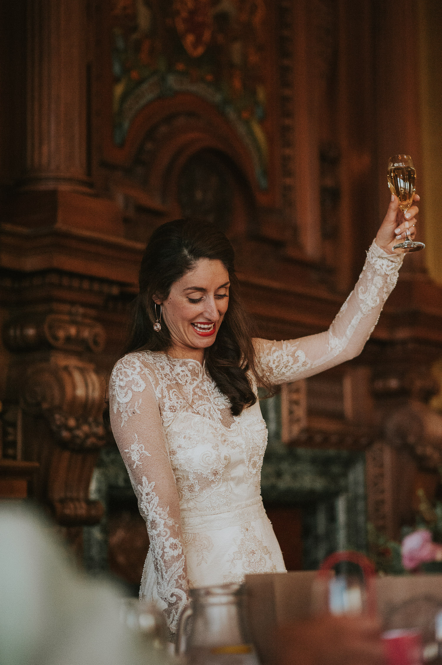 bride raising a toast