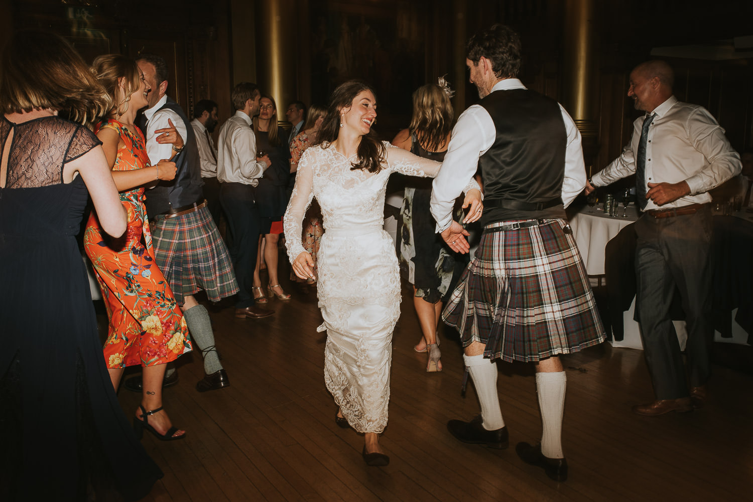 bride and groom wedding ceilidh