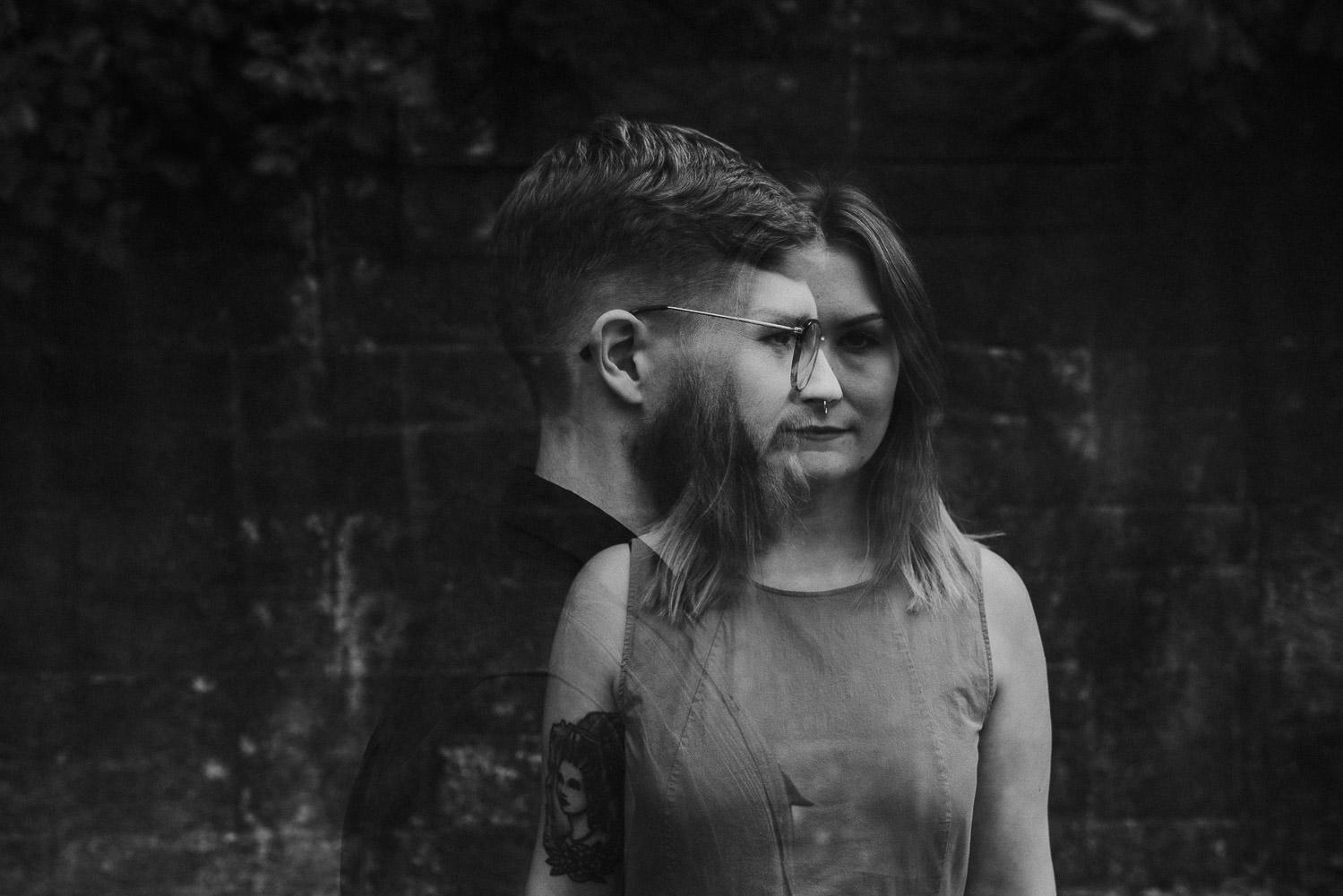 couple double exposure in monochrome